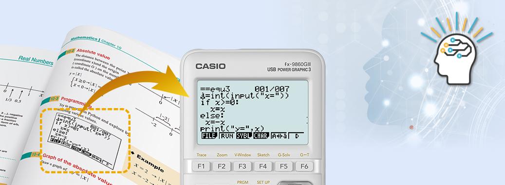 Calculadoras gráficas con visualización natural de libros de texto, hoja de cálculo y Python, ideales para el aprendizaje de las matemáticas.